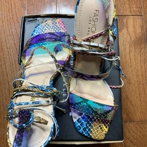 Multicolor Strappy Heels